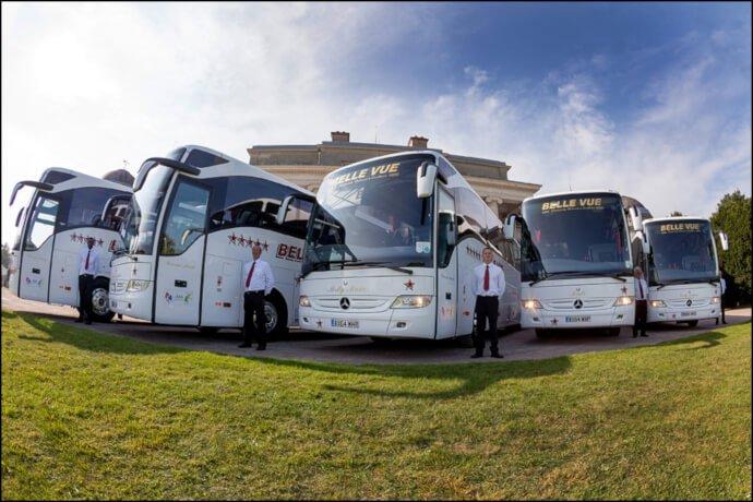 Coach fleet and drivers at BelleVue Manchester